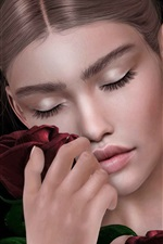 Preview iPhone wallpaper Fantasy girl, close eyes, roses