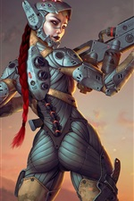 Fantasy girl, cyborg, look back, weapon, art picture