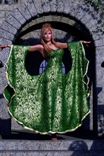 Preview iPhone wallpaper Fantasy girl, green skirt