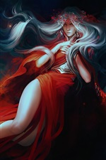 Preview iPhone wallpaper Fantasy red skirt girl, white hair