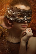 Preview iPhone wallpaper Fantasy young girl, green eyes, mask