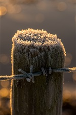 Preview iPhone wallpaper Fence, stump, frost, wire