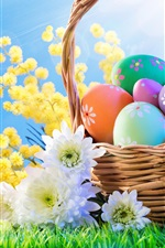 Preview iPhone wallpaper Flowers, colorful eggs, basket, grass, blue sky, Easter
