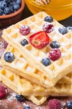 Comida, waffles, açúcar em pó, sobremesa