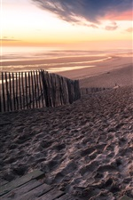 Preview iPhone wallpaper France, Aquitaine, beach, sea, fence