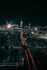 Preview iPhone wallpaper France, Limoges, city night, train, station