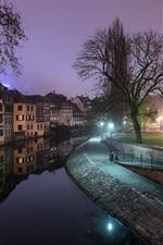 iPhone обои Франция, Страсбург, река, ночь, огни, город
