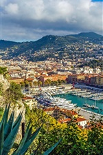 Preview iPhone wallpaper French Riviera, Nice, yachts, port, city
