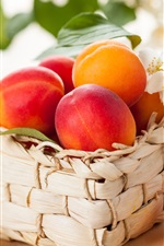 Preview iPhone wallpaper Fresh apricots, fruit, flowers