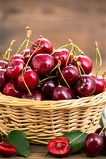 Preview iPhone wallpaper Fresh red cherries, fruit, basket