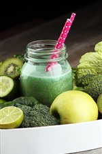 Preview iPhone wallpaper Fruit and vegetables juice, drinks, cucumber, broccoli, apple