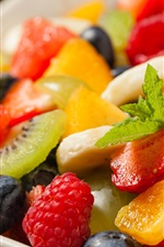 Preview iPhone wallpaper Fruit dessert, strawberry, orange, kiwi, blueberry
