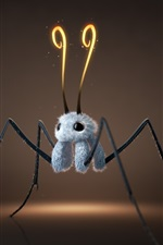Preview iPhone wallpaper Furry creature, like a spider, 3D design