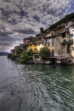 iPhone fondos de pantalla Gandria, lago de Lugano, Suiza, casas, pueblo