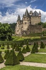 Preview iPhone wallpaper Garden, meadow, trees, castle