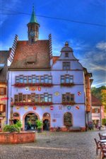 Germany, Baden-Wurttemberg, fountain, houses, cafe, street
