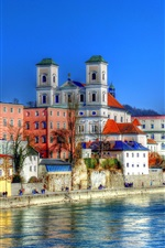 Germany, Bayern, Passau, river, houses, city
