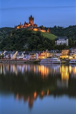 Preview iPhone wallpaper Germany, Cochem, castle, river, houses, lights