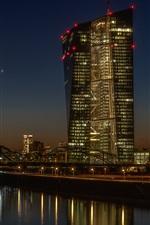 Preview iPhone wallpaper Germany, Frankfurt, bridge, river, night, illumination