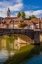 Germany, Laufenburg, Rhine River, city, bridge, houses