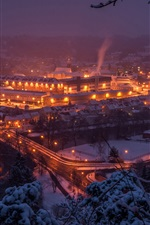 Preview iPhone wallpaper Germany, Saxony, bridge, night, river, city, snow, winter