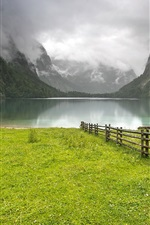Preview iPhone wallpaper Germany, lake, mountains, grass, hut, fence, clouds