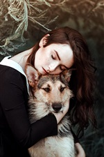 Preview iPhone wallpaper Girl and dog, friends