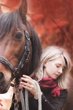 Preview iPhone wallpaper Girl and horse, autumn