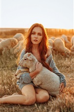 Preview iPhone wallpaper Girl and sheep, sunshine