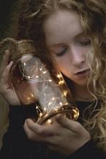 Preview iPhone wallpaper Girl, glass bottle, lights
