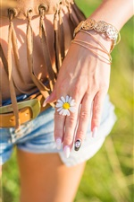 Preview iPhone wallpaper Girl hand, daisy