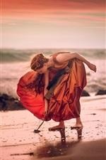 Preview iPhone wallpaper Girl, orange skirt, beach, sea, wind