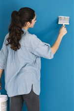 Preview iPhone wallpaper Girl paint wall, blue