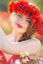 Preview iPhone wallpaper Girl, red skirt, flowers, wreath, love heart
