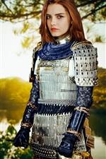 Girl, retro style, epic, warrior, lake, place, sunshine