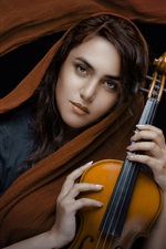 Girl, shawl, violin, black background
