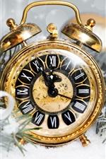 Preview iPhone wallpaper Golden alarm clock, stars