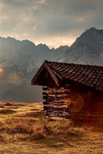 Grass, mountains, sun rays, wood hut, morning