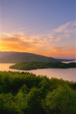 Preview iPhone wallpaper Greece, Lake Plastiras, trees, sunset