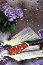 Preview iPhone wallpaper Guitar, music score, purple rose, water droplets