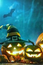 Preview iPhone wallpaper Halloween, pumpkin lamp, night