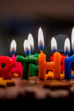 Preview iPhone wallpaper Happy Birthday, candles, flame, cake