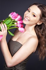 Preview iPhone wallpaper Happy girl, pink tulips flowers