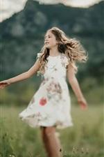 Happy little girl, skirt, grass, summer