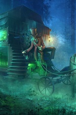 Hearse, horse, night, forest, horror, art picture