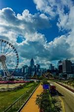 미리보기 iPhone 배경 화면 홍콩, 도시, 아침, 관람차