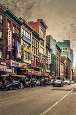 미리보기 iPhone 배경 화면 홍콩, 도시, 거리, 자동차, 상점, 건물