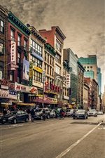 Hong Kong, cidade, rua, carros, lojas, edifícios