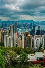 Preview iPhone wallpaper Hong Kong, city view, from mountain top views