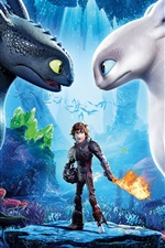 Preview iPhone wallpaper How to Train Your Dragon 3, black and white dragons